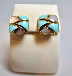 Asch Grossbardt 14k Gold Turquoise Mother Of Pearl Square Earrings New Eb1228tm