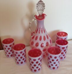 Fenton Art Glass Cranberry Opalescent Coin Dot Decanter And 6 Tumblers850.00