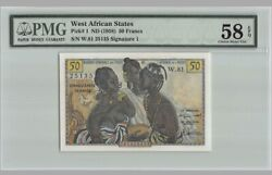Rare West African States 50 Francs Nd 1958 P-1 Pmg 58 Epq Choice About Unc