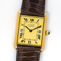 CARTIER Must Tank Vermeil Gold Plated Quartz Watch Ref 590005 Used Ex++ Leather