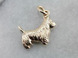 Sweet Scottish Terrier Charm or Pendant in Yellow Gold