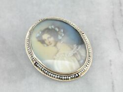 Antique Painted Lady Pearl Brooch Pendant