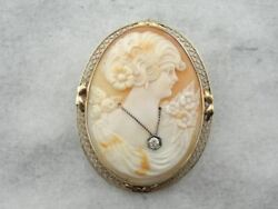 Antique Shell Cameo And Diamond Brooch Or Pendant In Gold Frame