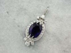 Lovely Retro Era Amethyst And Diamond Pendant, Converted From Vintage Watch