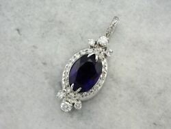 Lovely Retro Era Amethyst And Diamond Pendant Converted From Vintage Watch