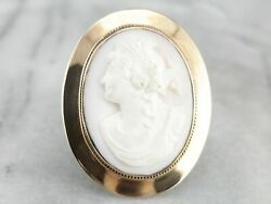 Antique Pink Cameo Rose Gold Brooch Pendant
