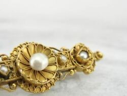 Etruscan Revival Victorian 22k Gold And Pearl Brooch