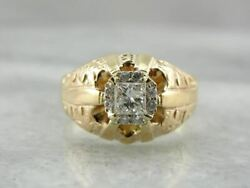 Old Magic New Magic Antique Victorian Ring With Modern Square Cut Diamonds