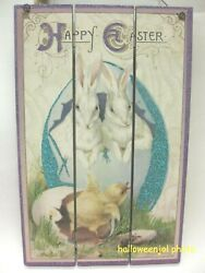 Primative Vintage Style Easter Rabbit Baby Chick Spring Sign Wall Hanging Home
