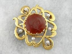 Antique Art Nouveau Era Pin Or Pendant With Carnelian Intaglio And Seed Pearls