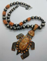 Large Signed Cj Native American Sterling Silver Coral Turtle Tortoise Necklace
