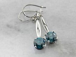 Blue Zircon And Diamond Dangle Earrings Made With Vintage Parts In White Gold