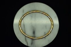 6.75 14k Yellow White And Rose Gold Rolled Design Oval Bangle Bracelet 16.9 Grams