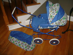 Vintage English Style Pram Baby Doll Carriage Stroller And Carrier Blue White Rare