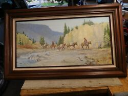 Western Art Oil Painting By Jim Carkhuff 15 X 30 The Pack Train