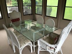 Indoor Wicker Dining Set White Glass Table, 6 Chairs, 2 Rockers, 1 End Table