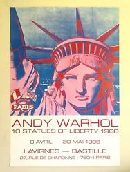 Andy Warhol Rare 1986 Lithograph Print Paris Exhibition Poster Statue Of Liberty
