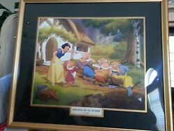 Disney Snow White And Seven Dwarfs Lithograph 1940's Rare Vintage Framed Beautiful