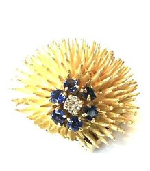 Rare And Co. Diamond And Blue Sapphire Pin 18k Solid Yellow Gold 17.6 Grams