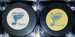 Lot 2 Vintage St. Louis Blues Rawlings Official Nhl Hockey Game Puck Old Yellow