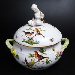 Herend Rothschild Covered Tureen With Rare Putti Finial