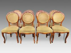 Exquisite set  of 8 Walnut Victorian style Balloon Back chairs French polished