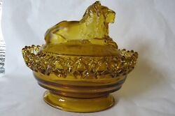 Imperial Glass Lion Covered Candy Dish Amber
