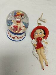 Betty Boop Snow Globe With Matching Ornament Vintage 2004 Hearst Kiss 4unow2day