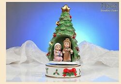 Musical Mechanical Porcelain Made In Italy H.25 Christmas Tree Nativity Pb0986