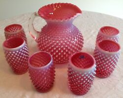 Fenton Art Glass Cranberry Opalescent Hobnail Pitcher And 6 Tumblers A8