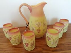 Fenton Burmese Raspberry 1991 Connoisseur Collection Pitcher And 6 Tumblers