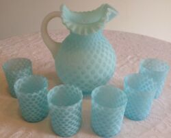 Fenton Art Glass Blue Opalescent Baby Coin Dot Pitcher And 6 Tumblers A3