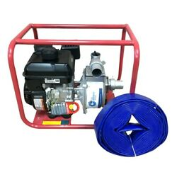 2 In. 6 Hp Gas Powered Water Pump Briggs And Stratton Engine Free Hose 30 Feet