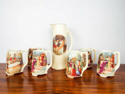 Antique 1910s 20s Ceramic Mugs And Beer Pitcher Roman Religious Scenes Made In Usa