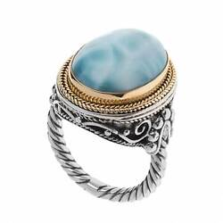 Savati 22k Solid Gold And Sterling Silver Cocktail Ring With Larimar