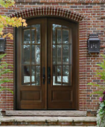 8ft  12 LITE MAHOGANY BREEZPORT ARCH TOP ENTRY DOOR UNIT