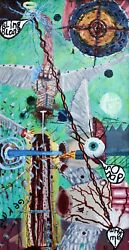 Surreal Oil Painting On Wood 50/26 Inches Bizarre Strange Odd Weird Wall Art