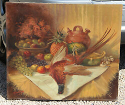 Flemish 1960 Oil Canvas Hunting Still Life Painting Pheasant Fruits Table