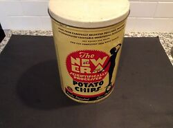 Vintage The New Era Scientifically Processed Potato Chip Tin 1lb Lady On Scale