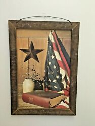 Primitive Wall Decor / God And Country 18 X 12 Print-tobacco Lath - Billy Jacobs