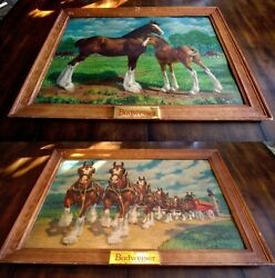 Rare Vintage Budweiser Clydesdale Horse Litho Prints