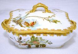 Haviland Limoges Antique Hand Painted Enamel Touch Square Covered Vegetable Bowl