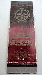 Matchbook Cover American Motorsports Motorcycle Amm Costa Mesa Ca Front St 20
