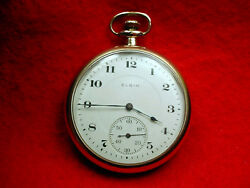 Elgin 12 Size Open Face 17 Jewel Pocket Watch With A Good Balance M-286