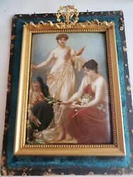 Circa 1900 Paul Thumann Small Oil Painting The Thread Of Life Allegory Of The