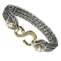 Gerochristo 6228 Gold, Silver And Pearls- Byzantine Medieval Cable Rope Bracelet