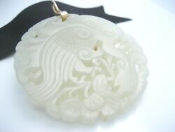 Antique Chinese Koi Fish Carved White Jade 14k Gold Bail Necklace Pendant 2 1/4