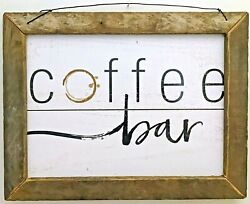 Primitive Rustic Country Home Decor- Wall Hanging- Coffee Bar- 12h X 16w Print