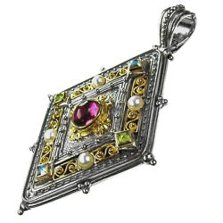 Gerochristo 3108 Solid Gold Sterling Silver And Gems Medieval-byzantine Pendant