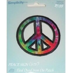 PEACE SIGN tied dye iron on patch hippie 60 70 Flower Child EMBROIDERED APPLIQUE